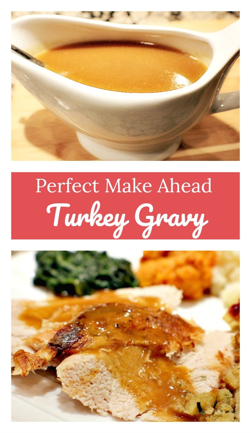 Foolproof and flavorful turkey gravy recipe you can make ahead of time and re-heat right before dinner. Perfect for Thanksgiving!