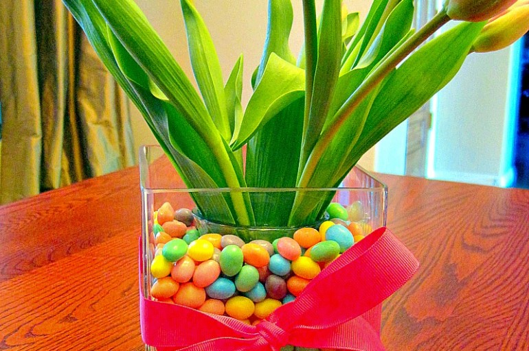 Tulips in Jelly Beans Easter Centerpiece