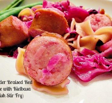 Apple Cider Braised Red Cabbage With Kielbasa (Polish Stir Fry)
