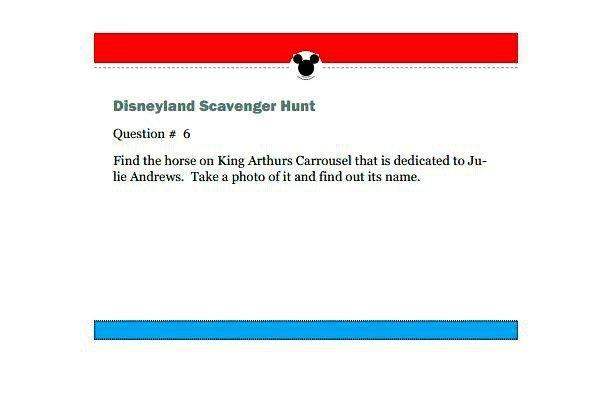 Disneyland Scavenger Hunt Printable Game