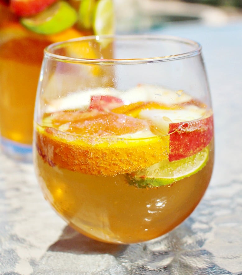 White Sangria with Fresh SUmmer Fruit and Prosecco