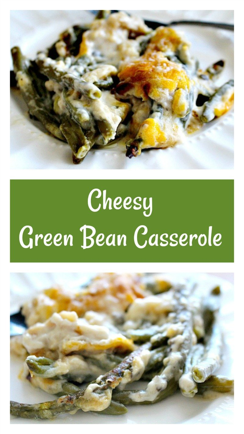 Creamy green bean casserole with homemade fried onions and a cheesy crust.