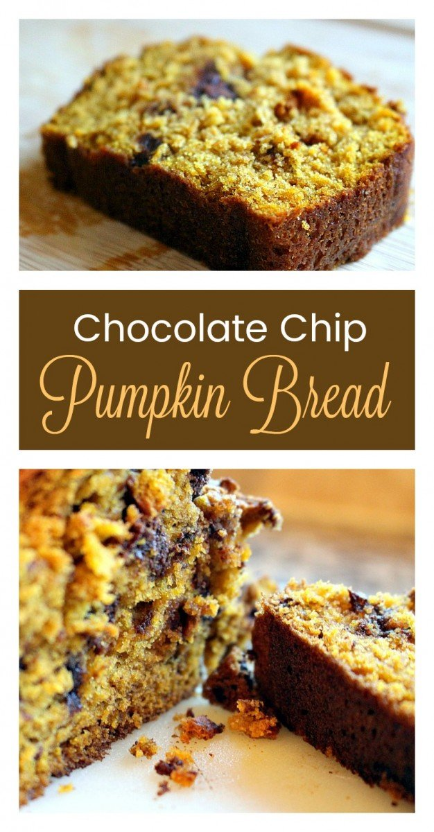 Delicious pumpkin bread chock full of chocolate chips. The most delicious pumpkin bread you will ever make!