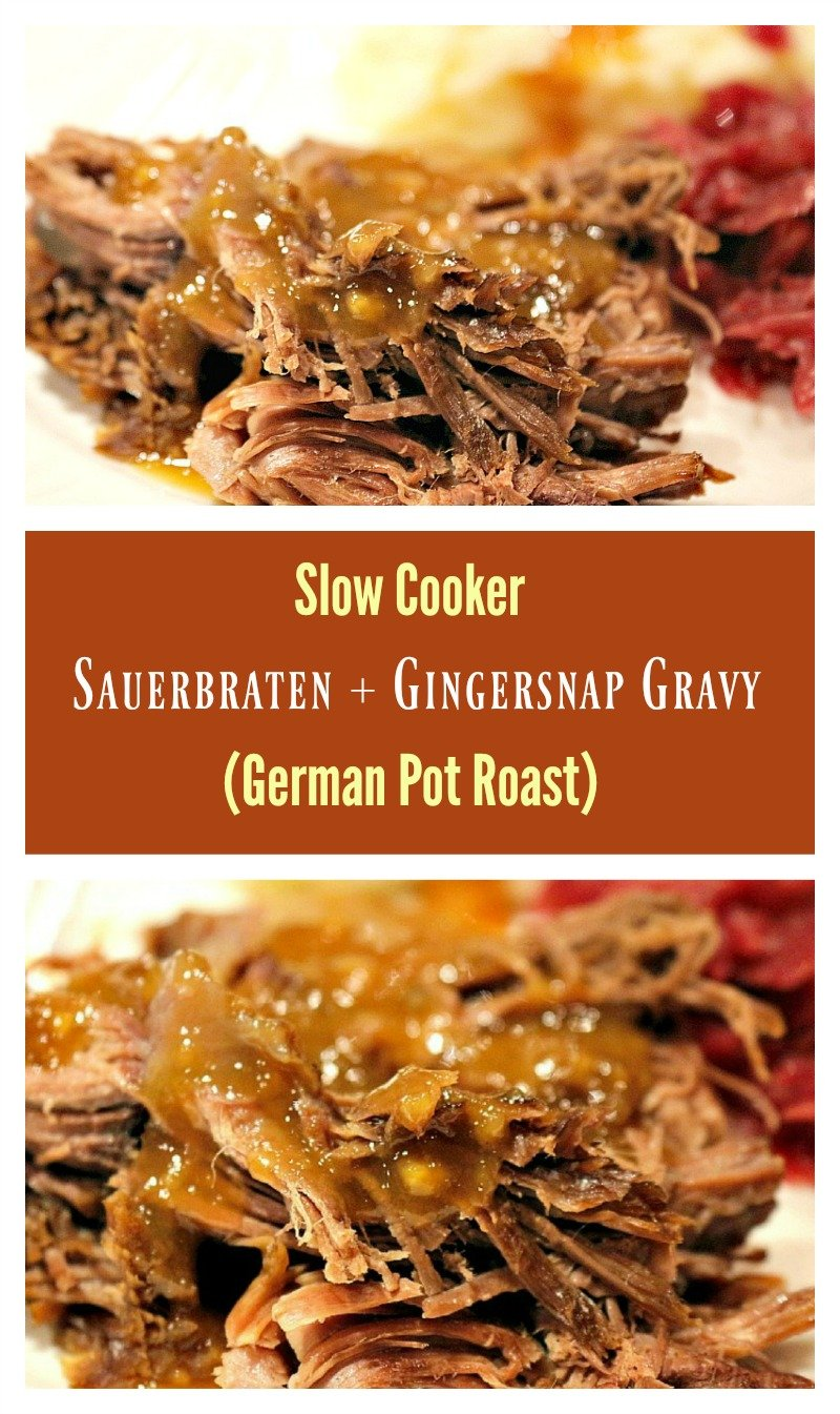 A tangy German-style pot roast, slow roasted and drizzled with gingersnap gravy.