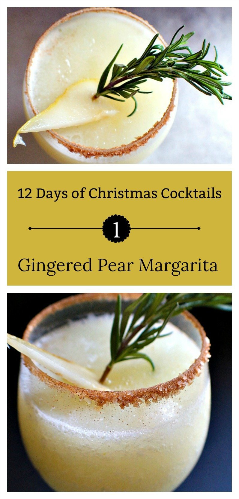 One of the Twelve Days of Christmas Cocktails, this Gingered Pear Margarita is made with Marble Distilling Gingercello, tequila, and pears.