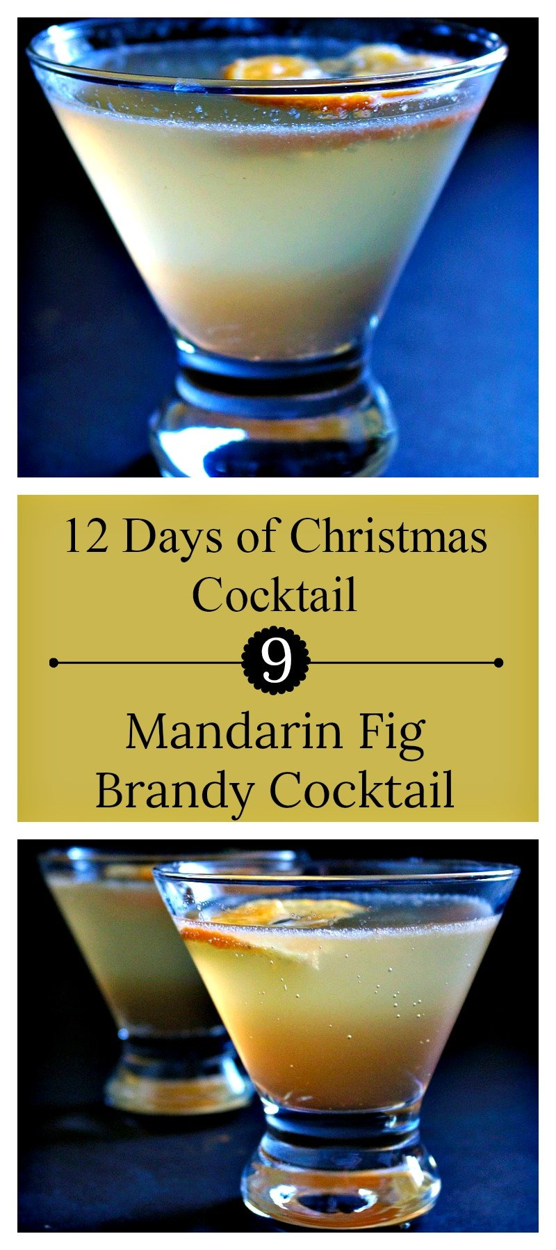 Mandarin Fig Brandy Cocktail | Christmas figgy pudding in a cocktail with mandarin juice, fig preserves, and brandy.