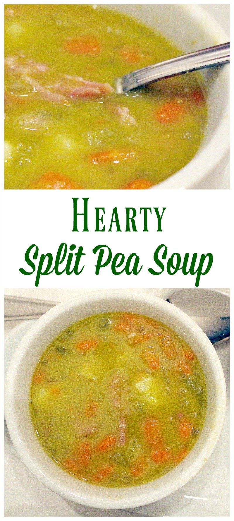 A hearty and delicious split pea soup chock full of ham and fresh vegetables.