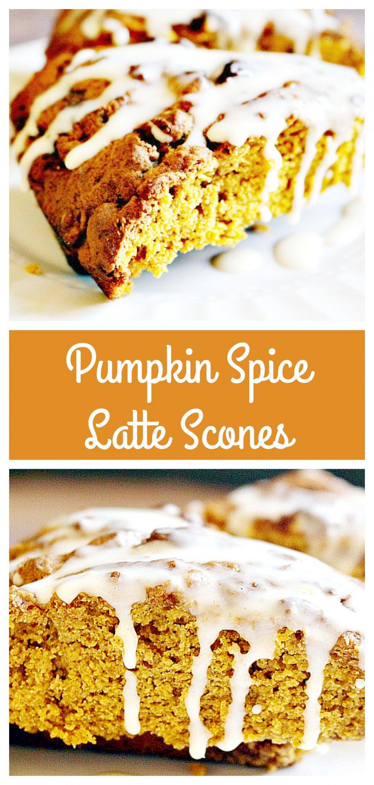 Pumpkin Spice Latte Scones | Golden spiced pumpkin scones with the rich taste of espresso and a light sugar-espresso glaze.