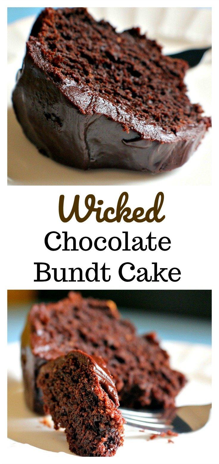 Wicked Chocolate Bundt Cake   Wickedly delicious and wickedly easy to make chocolate bundt cake with a chocolate ganache glaze. Sinfully good!