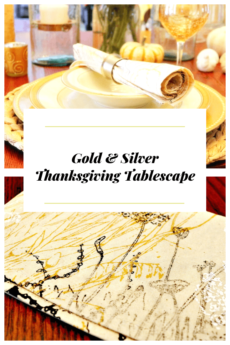 A gorgeous and elegant Gold & Silver Thanksgiving tablescape with gold and silver tableware accents and Flowering Blues cloth napkins.