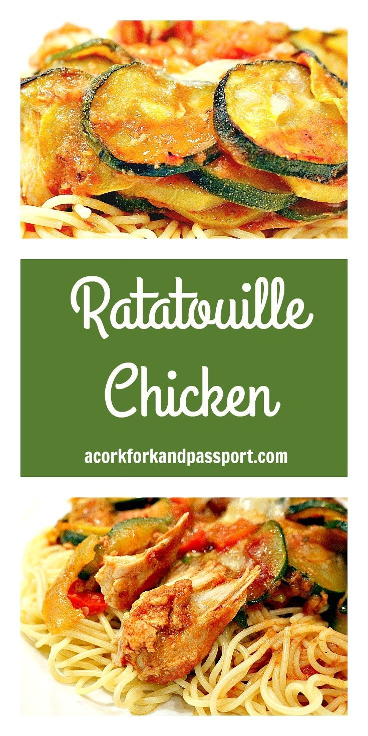 Ratatouille Chicken | A zesty and flavorful chicken dish with zucchini, summer squash, tomatoes, onions, and peppers, served on pasta.