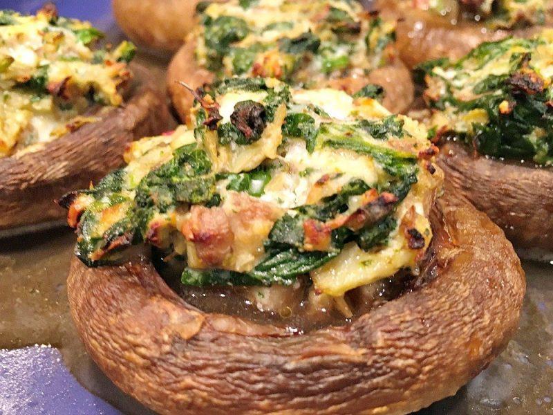 Healthy Spinach Artichoke Stuffed Mushrooms5
