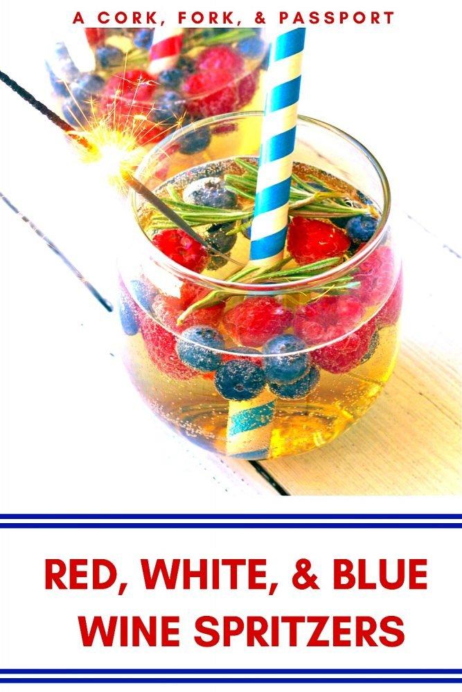 Red White & Blue Wine Spritzer Summer Cocktail1