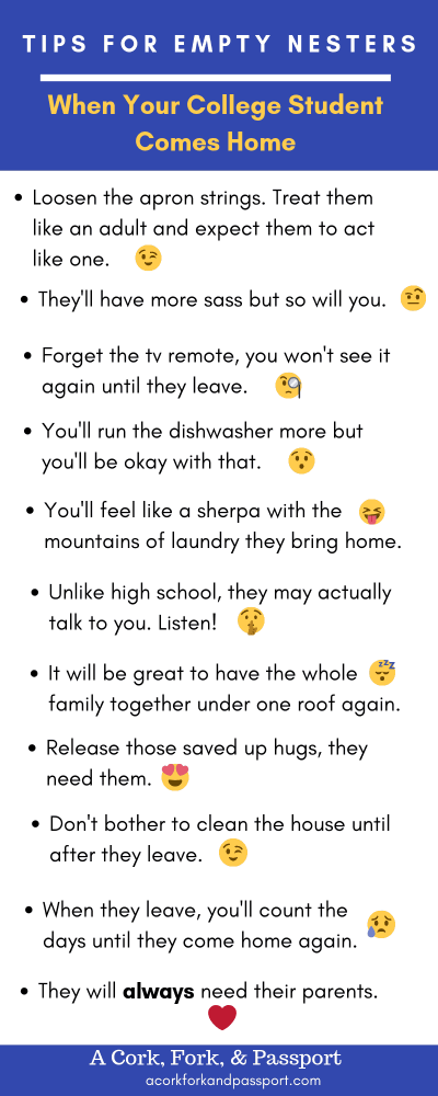 Tips for Empty Nesters: When Your College Student Comes Home Infographic
