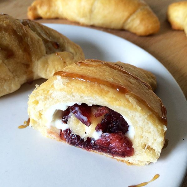 Easy Cream cheese and cranberry filled croissants